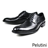 【Pelutini】時尚雕花牛皮紳士德比鞋  黑色(8358-BL)