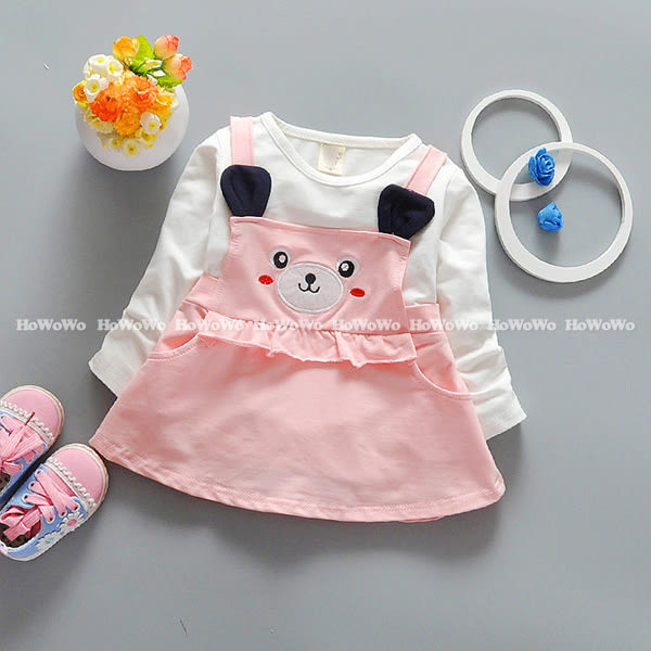 笑臉熊熊寶寶長袖洋裝 吊帶造型連身裙 新年女童裝 UG30215 好娃娃