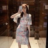 非質量問題不接受退換 夏季新款日系少女裝2020復古收腰顯瘦氣質改良版和服日式洋裝潮 設計師