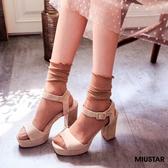 現貨-MIUSTAR 優雅氣質磨砂羊皮絨粗跟涼鞋(共2色,36-39)【NE4263T1】