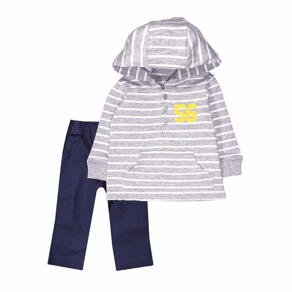 男寶寶套裝二件組 長袖薄連帽上衣+長褲 灰橫條 | Carter s卡特童裝 (嬰幼兒/小孩/baby)