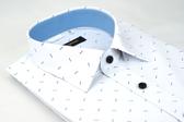 【金‧安德森】白底藍雙箭窄版長袖襯衫