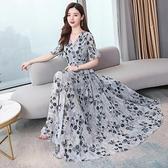雪紡洋裝 時尚長裙女2021夏季新款韓版氣質收腰顯瘦V領短袖碎花連身裙 3C數位百貨