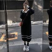 針織洋裝 小個子炸街減齡顯瘦長袖洋裝秋裝過膝針織毛衣長裙冬-年終穿搭new Year