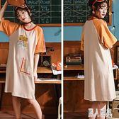 睡裙 女夏季純棉短袖韓版學生甜美可愛中長款寬鬆睡衣家居服 DJ8115『麗人雅苑』