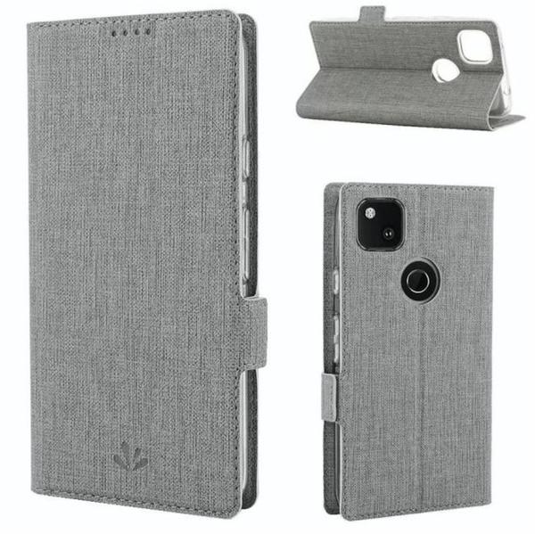 【萌萌噠】谷歌 Google Pixel 4a 4G 5G版 商務簡約款 全包布紋側翻皮套 磁吸插卡支架 磨砂手感 手機套