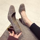 春季新款百搭韓版少女小清新粗跟高跟鞋方頭外穿淺口氣質單鞋 瑪麗蘇