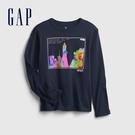 Gap男童 印花圓領長袖T恤 647999-海軍藍