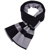 針織圍巾-雙色條紋休閒羊毛男披肩4色73wi77【時尚巴黎】