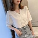 短袖襯衫 新款夏裝V領上衣設計感小眾短袖襯衫雪紡衫小衫T恤衫女 2021新款