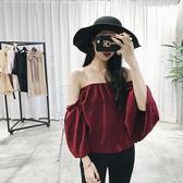 秋裝2018新款女性感一字肩上衣喇叭袖正韓寬鬆打底衫短袖雪紡衫女 699八八折