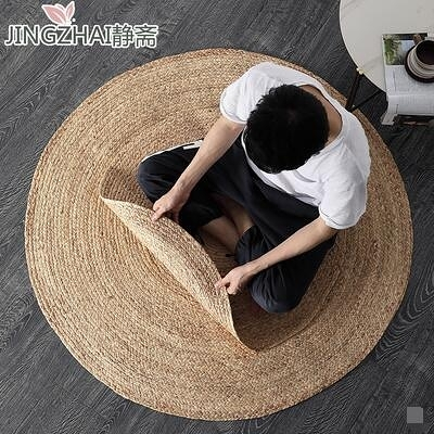 地毯水蘆葦手工草編織墊圓形客廳茶幾地墊臥室地毯攝影裝飾100*100[定制]