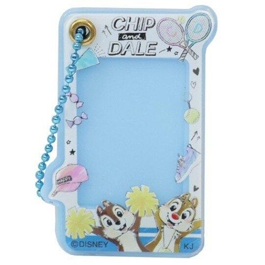 小禮堂 迪士尼 奇奇蒂蒂 造型壓克力相片吊飾 相框鑰匙圈 相框吊飾 (藍 球拍) 4935124-52086
