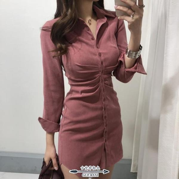 襯裙 赫本風桔梗法式小眾復古輕熟風襯衫紅色連衣裙女春秋收腰顯瘦氣質 - 古梵希