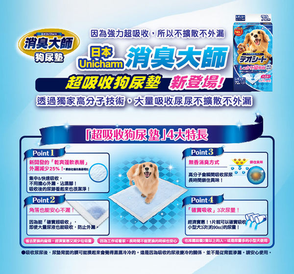 日本Unicharm消臭大師 超吸收狗尿墊(M72片X3包)│飲食生活家