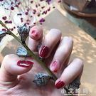 假指甲 假指甲貼片光療成品 暈染金箔紙簡單款 新娘甲孕婦甲片美甲 小艾時尚