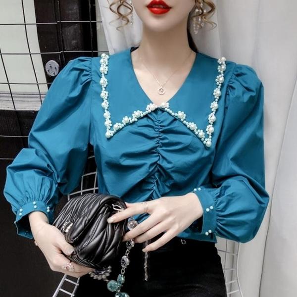 降價兩天 2020年秋季新款法式上衣 設計感小眾娃娃領泡泡袖純色長袖雪紡襯衫女裝