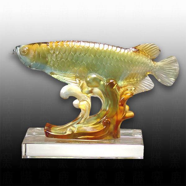 水晶琉璃▲▲金龍魚▲▲ 可當擺飾、可當獎牌  ◆附古法制作珍藏保證卡◆免運費送到家