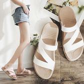 夏季一字拖厚底學生拖鞋女防滑沙灘鞋時尚平底女士涼拖鞋外穿坡跟