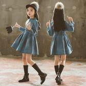 女童洋裝連身裙 牛仔韓版洋氣春秋裝兒童6長袖7公主8裙子12歲-炫科技