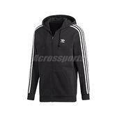 adidas 外套 3 Stripes Hoodie 黑 白 男款 連帽外套 運動休閒 【ACS】 DV1551