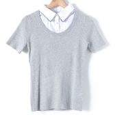 【MASTINA】假兩件短袖針織上衣-灰 10411