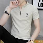男士短袖t恤 夏季新款韓版潮流男裝衣服polo衫潮牌立領半袖體恤ins