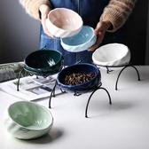 陶瓷貓碗貓咪水碗保護頸椎貓食盆寵物碗貓糧碗貓水盆斜口碗狗狗碗 【快速出貨】
