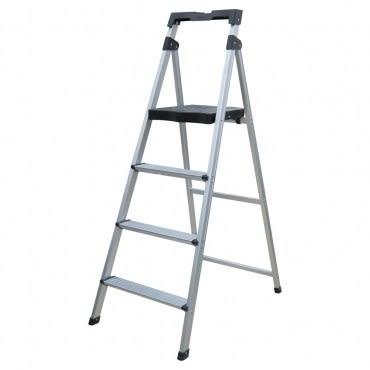 PRO特選 四階鋁製輕便寬踏板梯 (附工具盤)
