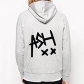 ASH 5 SECONDS OF SUMMER金屬拉鍊連帽刷毛外套-灰色 XX 5SOS 搖滾 樂團