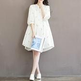 夏新款胖MM大碼女裝文藝小清新碎花刺繡七分袖寬鬆棉布連身裙 童趣