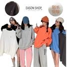 EASON SHOP(GW9338)韓版糖果色系小字母刷毛加薄絨落肩寬版圓領長袖棉T恤裙女上衣服內搭衫閨蜜裝
