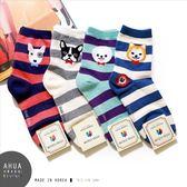 韓國襪子正品 可愛條紋狗狗圖案襪❤️中筒襪 短襪 絲襪隱形襪 運動復古  韓國代購 阿華有事嗎