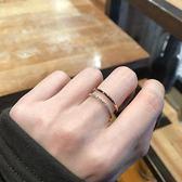 港風chic皓石雙層雙排鉆鈦鋼18K玫瑰金彩金不掉色食指網紅戒指女