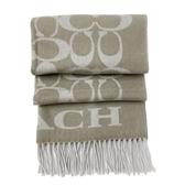 【COACH】新款C LOGO喀什米爾混羊毛圍巾(灰褐)