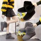 雪靴 新款冬季蝴蝶結平底雪地靴厚底加絨短...