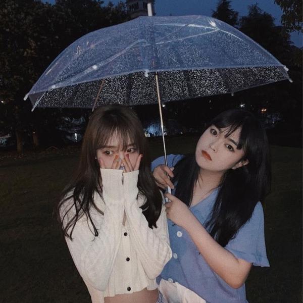 簡約白色透明雨傘女學生韓版大號ins森系晴雨兩用自動長柄傘批發