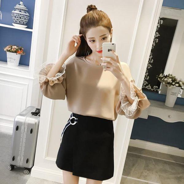 涼感裝新款女韓版小衫女喇叭袖上衣打底衫女長袖春夏百搭雪紡衫