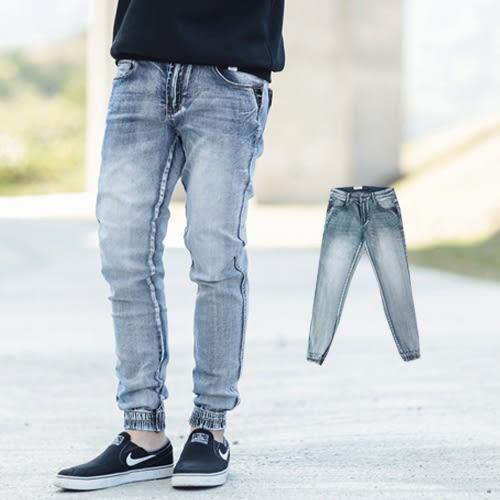 牛仔褲 淺刷色口袋皮革縮口褲牛仔褲【NB0407J】
