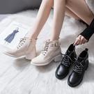 粗跟馬丁靴女2020年新款秋冬季百搭短筒網紅瘦瘦靴子女短靴增高潮
