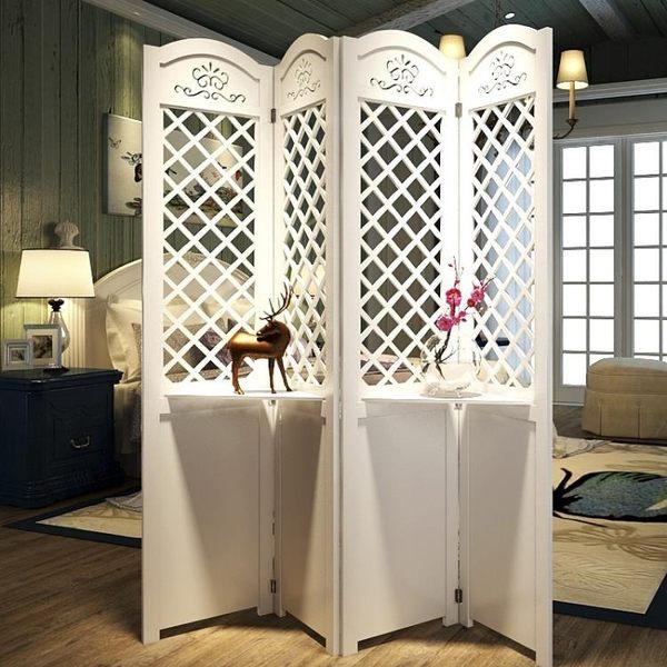 簡約現代臥室屏風隔斷玄關時尚客廳雕花折疊置物架田園屏風菱形第七公社