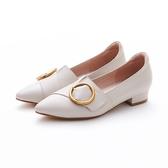 MICHELLE PARK 高迷人簡約顯瘦質感尖頭圓扣真皮平底鞋-米白