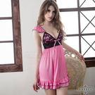 【中大尺碼】粉莓紅黑蕾絲甜美柔緞情趣性感...
