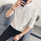 夏季7七分袖襯衫男士韓版修身潮流條紋寸衫中袖帥氣休閒短袖襯衣5 快速出貨