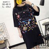 【YOUNGBABY中大碼】可愛小物印花下開叉洋裝.黑(36-48)