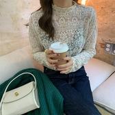 鏤空半高領花邊蕾絲上衣T恤【29-23-8T81611-19】ibella 艾貝拉