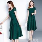 媽媽洋裝 時尚潮流新款夏季高端收腰顯瘦減齡氣質中長款圓領大碼女裝連身裙 韓菲兒