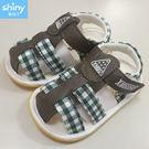 【CB285】shiny藍格子-綠格紋防滑軟底學步鞋嬰兒鞋/男女寶寶鞋