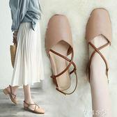 涼鞋女夏季新款奶奶鞋中跟復古方頭交叉帶女鞋包頭粗跟高跟鞋      芊惠衣屋