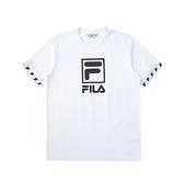 FILA NEWTRO MANIA 男款白色短袖圓領T恤-NO.1TEV-1416-WT